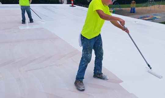 Flat roofing commercial building